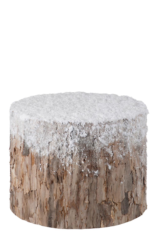 Zasněžený dřevěný špalek / odkládací stolek na zimní dekorace