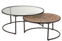 Set Of 2 Coffee Tables Round Metal