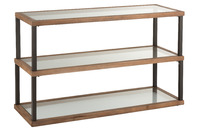 Console 3 Levels Glass/Wood Brown