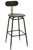 Bar Chair Industrial Metal Black