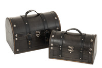 Set Of 2 Trunk Round Wood Black