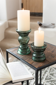 Candle Holder Nice Glass Green