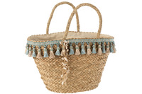 Beach Bag Tassels Blue/Beige Reed
