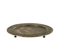 Tray On Foot Antique Metal Mix