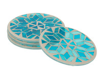 Box 4 Coasters Mosaic Round Glass