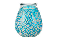 Vase Mosaic Round Glass Blue