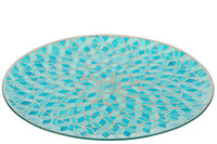 Dish Mosaic Round Glass Blue