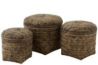 Set Of 3 Baskets Woven With Lid