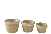 Set Of 3 Baskets Tassel Band Maize