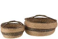 Set 2 Baskets Round Seagrass