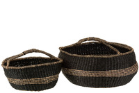 Set 2 Baskets Round Seagrass Black