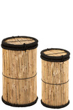 Set Of 2 Baskets Cylinder Bamboo