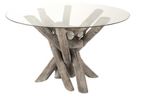 Table Round Branch Wood/Glass Grey