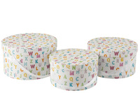 Set Of 3 Boxes Round Letters Paper