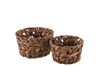 Set Of 2 Baskets Round Reed