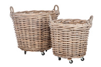 Set 2 Baskets Round+Handle Reed