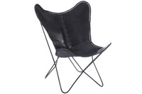 Lounge Chair Leather/Metal Black