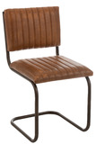 Chair Modern Leather/Metal Cognac