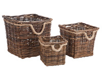 Set Of 3 Baskets Square Willow
