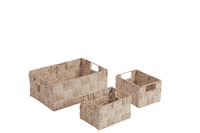 Set Of 3 Baskets Rectangular Reed