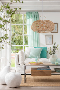 Cushion Stonewashed Linen  Aqua