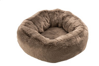 Cat Basket Round Polyester Taupe