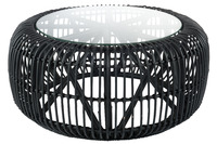 Table Round Rattan/Glass Mat Black