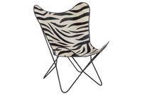 Lounge Chair Leather/Metal Zebra