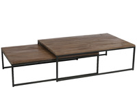 Set 2 Coffee Tables Wood/Metal