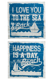 Placard Boat Wood Blue Assortment