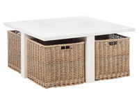 Coffee Table Square + 4 Baskets
