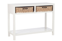Console + 2 Baskets Wood White
