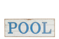 Placard Pool+Rope Wood White/Blue