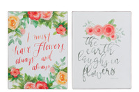 Placard Flowers Metal Red Mix
