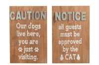 Placard Dogs/Cat Wood Natural/Grey