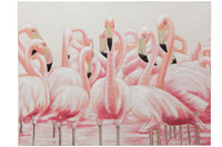 Canvas Flamingos Water Canvas/Wood