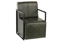 Chair Leather/Metal Green/Black
