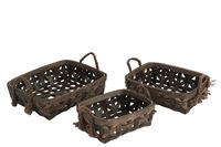 Set 3 Baskets Rectangular Reed