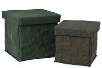 Set 2 Boxes Square Textile Green