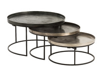 Set Of 3 Side Tables Round