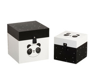 Set Of 2 Box Panda Wood