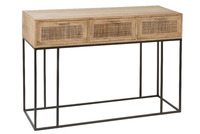 Console 3drawers Woven Reed Mango
