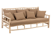 Sofa 3p Teak+Textile Natural/Brown