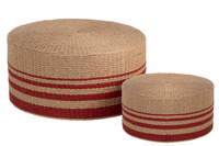 Set Of 2 Puff Round Paper Red