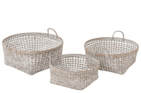 Set 3 Baskets Woven Bamboo White