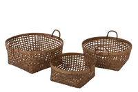 Set 3 Baskets Woven Bamboo Brown