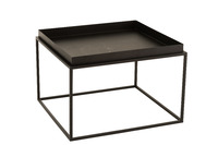 Side Table Square Metal Black