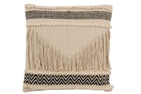 Cushion Fringes Cotton Black/White