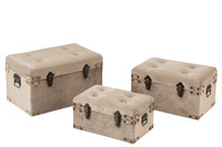 Set Of 3 Trunks Velvet Grey