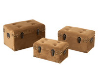 Set Of 3 Trunks Velvet Beige